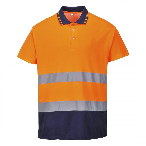 Zweifarbiges Baumwoll- Komfort Poloshirt
