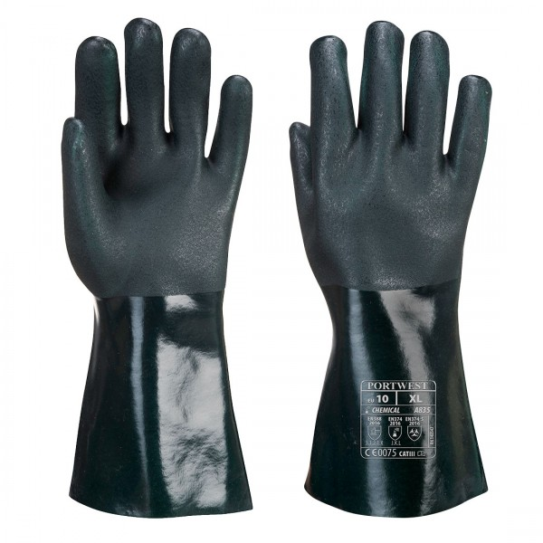 Doppelt beschichteter PVC Schutzhandschuh 35cm
