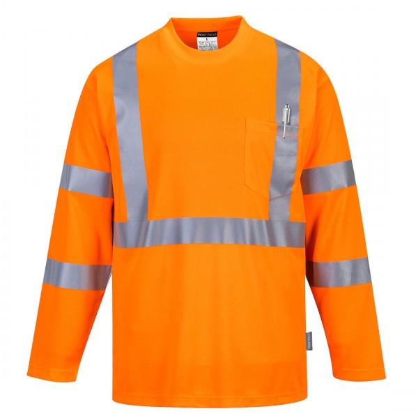 Warnschutz Langarm T-Shirt mit Brusttasche